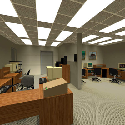 building office furnished 3d model