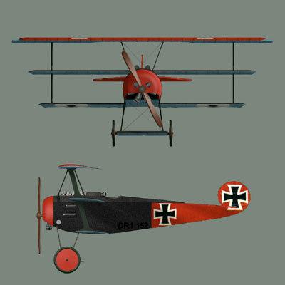 plane fighter fokker 3d model