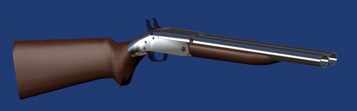 3d double barrel shotgun model