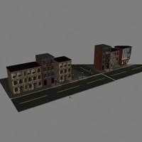 old city street scene 3d model
