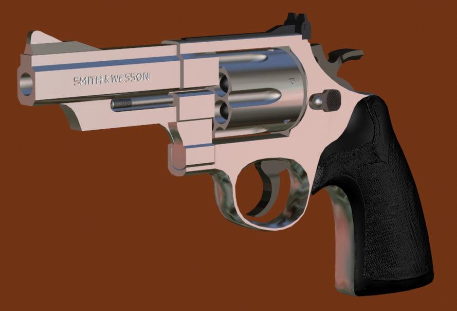3d 44 magnum revolver gun model
