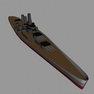 watercraft battleship 3d model