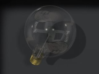 3d clear light bulb model