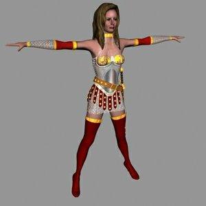 human female barbarian 3d model