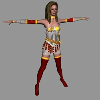 human female barbarian 3d model