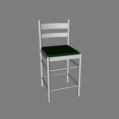 kitchen chair medium 3d 3ds