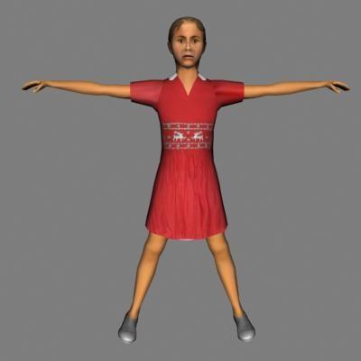 3d human female child model