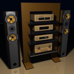 3d model of stereo speakers radio