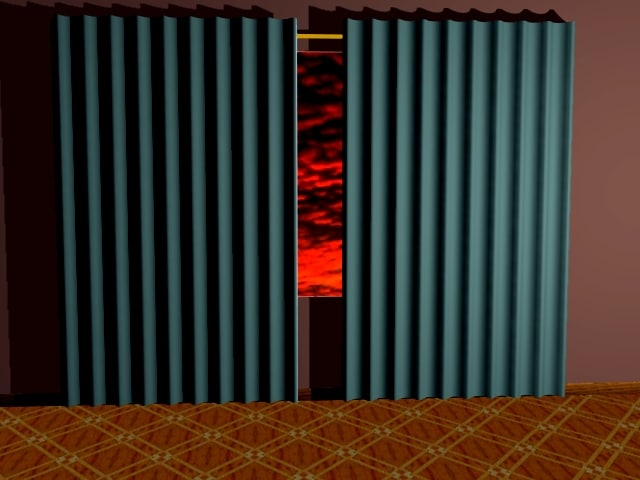 pleated curtain window 3ds