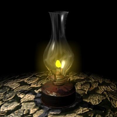antique oil lamp 3d model