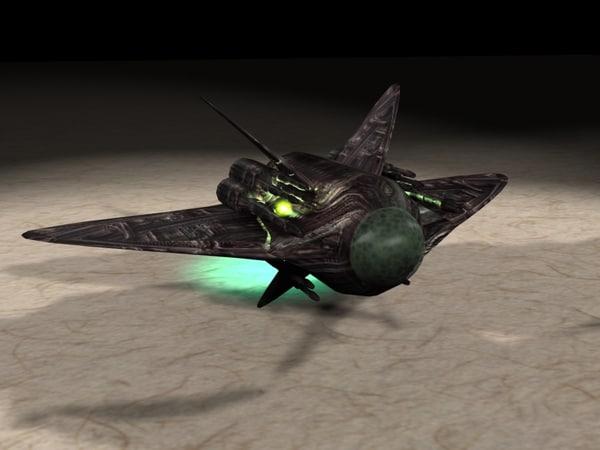 alien space fighter 3d max