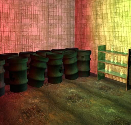 3ds max scene underground waste barrels