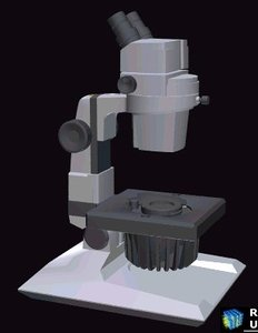 3d model of microscope disecting stereoscopic