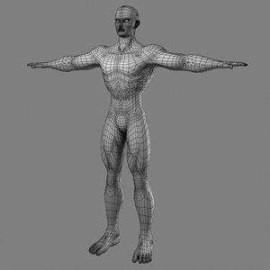 muscular male hero superhero 3d model