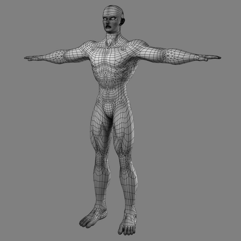 muscular male hero superhero 3d model