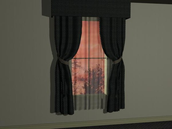 window curtained 3d max