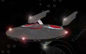 constitution class starship 3d model