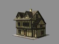 building medieval europian house 3d model