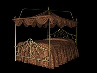victorian canopy bed 3d model