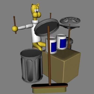 3d model drum musician cat