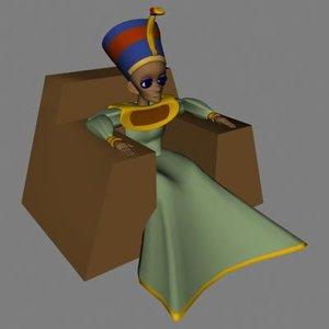 3d egyptian queen female model