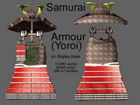 samurai armour yoroi display 3d model