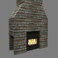 3d fireplace chimney