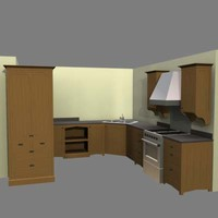 arts crafts kitchen refrigerator 3d model