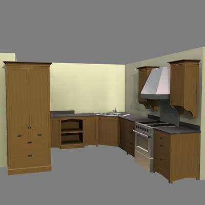 arts crafts kitchen refrigerator 3d model