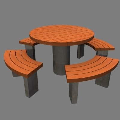 3ds max concrete garden table bench