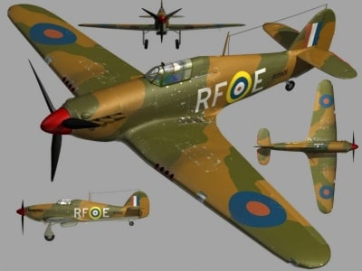 hawker hurricane mk1 3d model