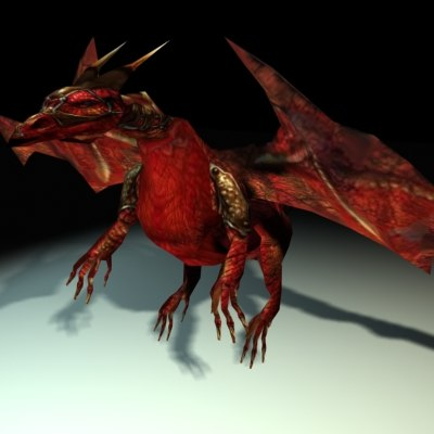 3d biped skeleton dragon model