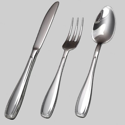 lightwave set utensils knife fork 3d model
