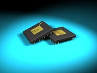 3d microchip chips model