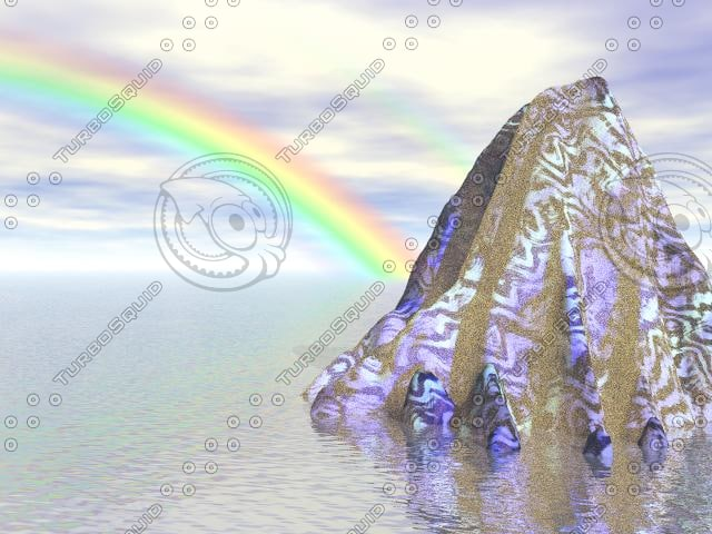 3d rain rainbow model