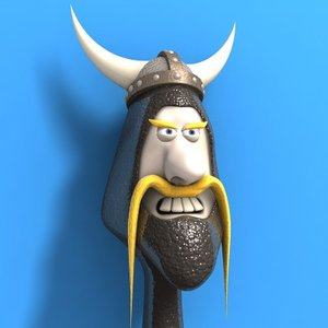 cartoon viking 3d model