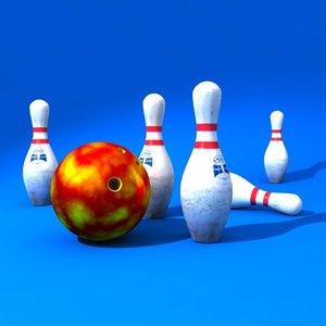 bowling scene kit 3d model