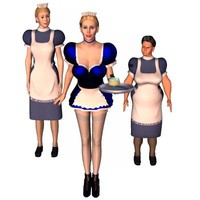 french maid housekeeper 3d model