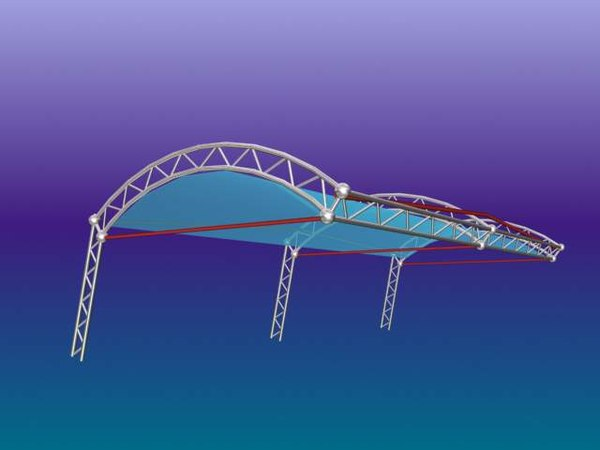 steel truss roof 3d model