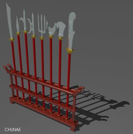 chinese weapon rack 3d model