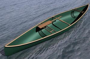 canoe autocad 3d model