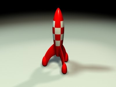 tintin cartoon rocket 3d model