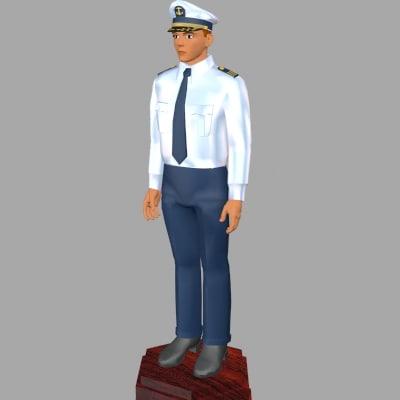 3d ship captains uniform model