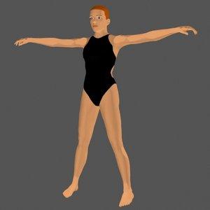 3d female swimmer model