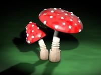 3d fantasy mushrooms model