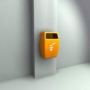 3d model wallmount trashbin