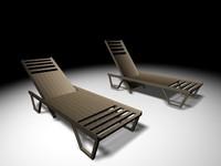 long garden chair 3d model