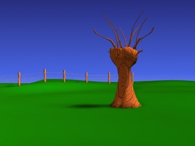 cartoon field tree 3d model