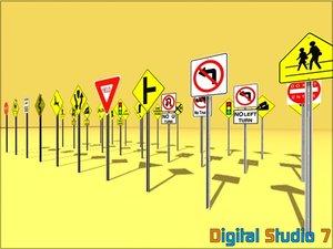 30 road signs 3d model