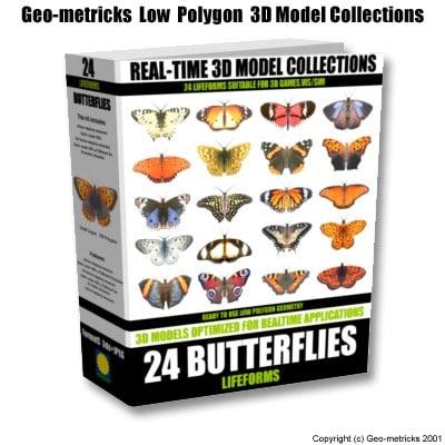 24 butterflies 3d model